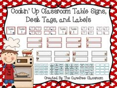 Here's a cute cooking themed set to spice up your classroom! This set consists of two different styled table signs small and large, 8 different desk tags in either red and white gingham or gray and white gingham, and 48 classroom labels. You will also get a blank sheet of labels and small table signs to use as you please.This set matches many other cooking themed items in my store...check them out!