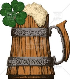 Wooden mug of beer with foam decorated with Irish, Celtic pattern and four leaf clover, 59760, download royalty-free vector clipart (EPS)