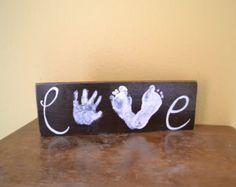 Articles similaires à Toute couleur, la rayure amour Handprint et l'empreinte toile Art avec impression Kit, souvenir personnalisé peint à la main, 12 x 16