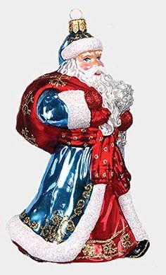 Russian Santa Ded Moroz Polish Mouth Blown Glass Christmas Ornament Decoration