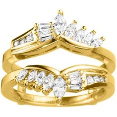 18k Gold 1 7/8ct TDW Diamond Chevron Anniversary-style Ring Enhancer (G-H, SI2-I1) (18K Yellow Gold, Size 6.50), Women's, Size: 6.5