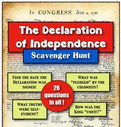 Declaration of Independence: A Scavenger Hunt!
