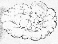 Baby on cloud. Clipart Baby, Angel Drawing, Baby Drawing, Quilt Baby, Baby Clip Art, Baby Art, Kids Patterns, Doll Patterns, Tole Painting