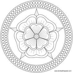 Rose and Pearls Mandala to color or embroider- JPG or transparent PNG format. my-mandalas Mandalas Painting, Mandalas Drawing, Mandala Coloring Pages, Coloring Book Pages, Dot Painting, Coloring Sheets, Mandala Art, Zentangles, Mandala Rose