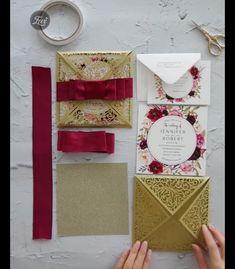 Splendid Spray gold shimmer laser cut fold with satin ribbon burgundy floral wedding invitations EWWS236