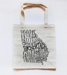 State Food Map Market Tote by Stately Made | Carry Your southern produce in your southern tote bag.