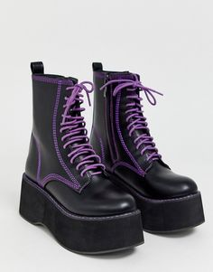 Shop Koi Footwear vegan purple lace up platform ankle boots in black at ASOS. Dr Shoes, Goth Shoes, Me Too Shoes, High Platform Shoes, Black Platform Boots, Black Shoes, Purple Boots, Purple Lace, Estilo Indie