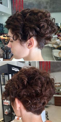 Hairstyles for Thick Curly Hair Mohawk Hairstyles For Girls, Girl Haircuts, Curly Bob Hairstyles, Easy Hairstyles, Pixie Haircuts, Thick Curly Hair, Curly Hair Styles, Wedge Haircut, Super Short Hair