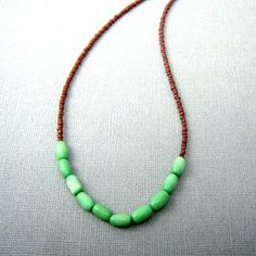 Simple Bead Necklace, Seed Bead Necklace, Mint Green and Brown Beads, Seed Bead Jewelry on Etsy, $18.00