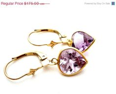 32% Off Amethyst Earrings 14k Yellow Gold by TheJewelryLadysStore