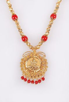 INR 1760 Goddess Lakshmi #Pendant set with red and gold bead #necklace  #Handcrafted #TempleJewelry