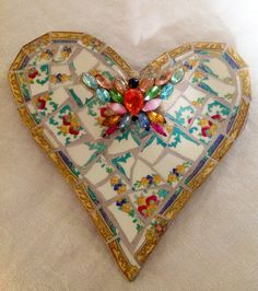 Concrete Mosaics | Mosaic heart Butterfly Mixed Media Pique Assiette by BrokenArtz