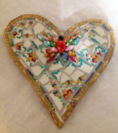 Concrete Mosaics | Mosaic heart Butterfly Mixed Media Pique Assiette by BrokenArtz