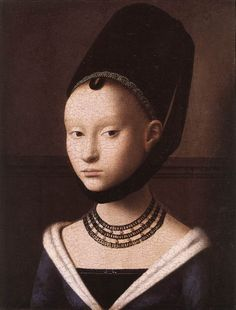 "10. ""Portrait of a Young Girl,"" - 1465-75 - Barbette, Hennen, Deep V-neckline. High forehead, molly coddle lovelock."