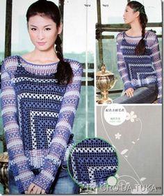 Blue quarter granny sweater