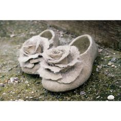 Felt Slippers Women Home Shoes With Roses Beige Black Gray Organic... (€62) ❤ liked on Polyvore featuring shoes, slippers, grey and women's shoes