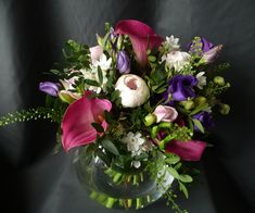 Vase of flowers for the middle of a table in purples, pinks and light pinks. Table Arrangements, Floral Arrangements, Local Hotels, Surrey, Corporate Events, Glass Vase, Photoshoot, Seasons, Flowers