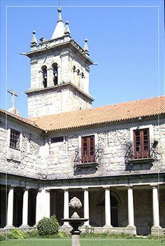 Mosteiro de Landim, Vila Nova de Famalicão, Portugal - our sunny cloister and the church steeple next door