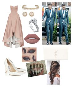 """""""Going to Ruth's wedding with your fiancé Liam"""" by arianas12 ❤ liked on Polyvore featuring Zac Posen, Yves Saint Laurent, Jimmy Choo, Maison Margiela, Harry Kotlar, Kate Spade and Lime Crime"""