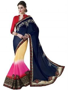 Multi Embroidery With Heavy Border Georgette Saree