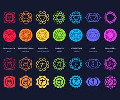 Chakra symbols set on dark background. Different styles, modern simple geometric icons and traditional sanskrit signs. Arte Chakra, Chakra Art, Chakra Healing, Chakra Tattoo, Symbole Tattoo, Chakra Symbole, Letras Cool, Chakra Painting, Les Chakras