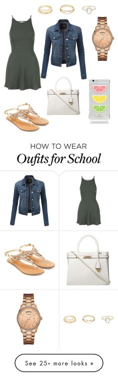 """""""No more school"""" by lilysantamaria80 on Polyvore featuring Topshop, GUESS, Accessorize, Dorothy Perkins, Kate Spade, Charlotte Russe and LE3NO"""