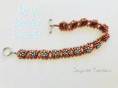 Right Angle Weave Simple Beaded Bracelet. Beaded Bracelets Tutorial, Handmade Bracelets, Handmade Jewelry, Jewelry Patterns, Bracelet Patterns, Beaded Jewelry, Jewelry Bracelets, Jewellery Nz, Diamond Bracelets