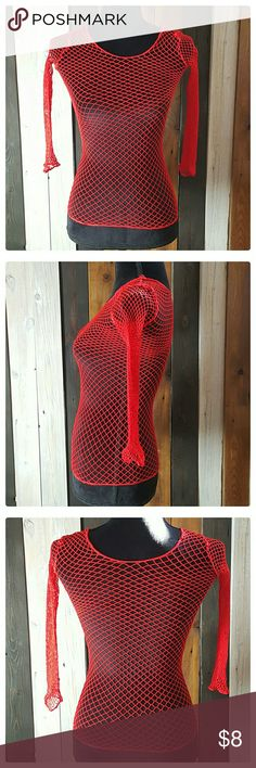 Fishnet Top EUC Red fishnet top. No tags. Will fit upto a size 10/12. Lots od stretch. Hand wash cold. Air dry. Tops