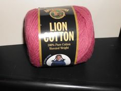 1 Skein of Lion Brand Cotton Yarn Great for Dishcloths ROSE Discontinued by TheKnittingGnomeVT on Etsy