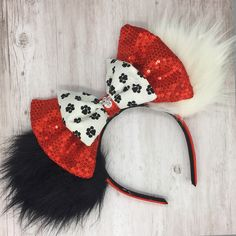 Excited to share this item from my shop: Cruella DeVille Minnie Ears Diy Disney Ears, Disney Mickey Ears, Disneyland Ears, Disney Diy Crafts, Disney Headbands, Disney Merchandise, Disney Outfits, Disney Inspired, Disney Trips