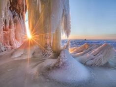 nice Picture of an Apostle Island ice cave during sunset, Bayfield, Wisconsin... Check more at http://www.discounthotel-worldwide.com/travel/picture-of-an-apostle-island-ice-cave-during-sunset-bayfield-wisconsin/