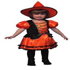 DisfracesMimo, disfraz de bruja naranja barata niña 3 a 4 años. Tu hija podrá ser la bruja más guapa a la vez que malvada de toda la fiesta de halloween. Ten cuidado porque te hechizará con su dulzura. Este disfraz es ideal para tus fiestas temáticas de bruja y miedo para infantiles.