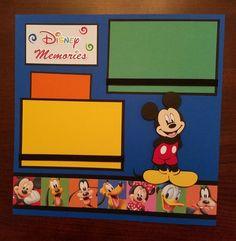 Disney Mickey & Friends Premade Scrapbook Layout 2 Pages Disney Memories Disneyland Gift Shadow Box, Framed Art Album Scrapbook, Baby Boy Scrapbook, Disney Scrapbook Pages, Birthday Scrapbook, Scrapbook Page Layouts, Scrapbooking Ideas, Scrapbook Quotes, Scrapbook Templates, Mickey Mouse Pictures
