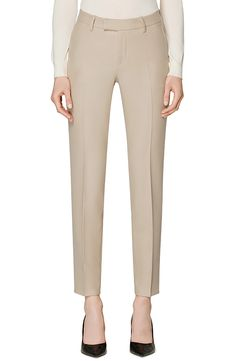 The perfect neutral color, these Italian wool pants are cut in a tapered silhouette and finished with a neat cuff. Style Name:Suistudio Robin Cuff Wool Trousers. Style Number: Available in stores. Half Zip Sweaters, Gowns With Sleeves, Belted Coat, Lace Sheath Dress, Wrap Blouse, Cropped Cardigan, Wool Pants, Work Shirts, Printed Leggings