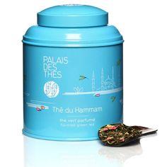 Thé du Hammam - boite bleue, Thé vert de Chine aux pétales de fleurs et fruits sur Le Palais des Thés