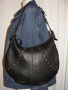 a7f6ba7cdba CHI-by-FALCHI-Black-Leather-Studded-Extendable-Strap-HOBO-Shoulder-Bag-Purse