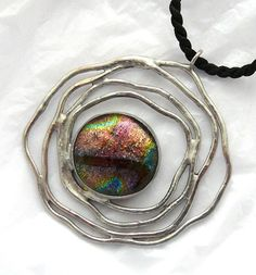 Dichroic Glass Wired Pendant & Necklace