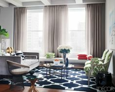Living Area: Youthful Glamour Apartment in Manhattan, NYC. Designed by Iain Halliday, Photgraphed by William Waldron.
