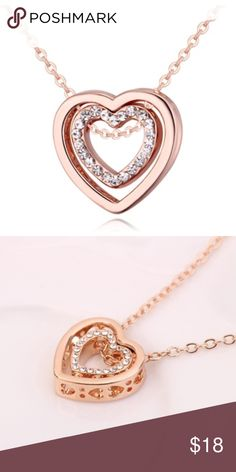 Rose Gold Rhinestone Double Heart Necklace Brand new. Has adjustable chain length. Jewelry Necklaces