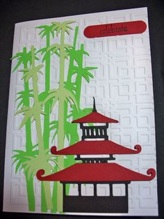 pagoda - I would change the colors a bit Asian Crafts, Chinese Crafts, Japanese Quilt Patterns, Japanese Quilts, Christmas Party Themes, Halloween Door Decorations, Deco Nouvel An, Asian Party Themes, Chinese Christmas