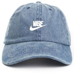 Just Vibe Swoosh Denim w/ White Dad Hat (€14) ❤ liked on Polyvore featuring accessories, hats, denim hats, ball cap, white baseball hat, baseball caps hats and baseball hats