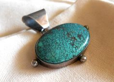 VINTAGE Turquoise Pendant in Sterling Silver by VINTAGEARTIFACTS2, $80.00