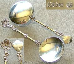 Rare PAIR of EDWARDIAN solid SILVER figural ICE CREAM spoons SERVERS London 1910