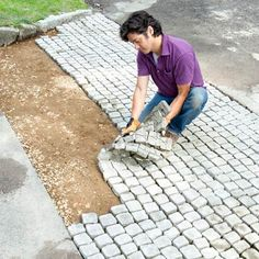 Loooove this idea!! Paver mats to give your house old world charm! I love cobblestone.