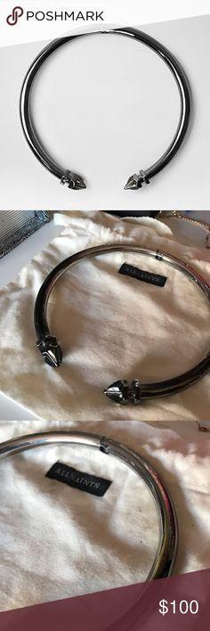 AllSaints Choker Previously loved. Comes with bag. Discoloration on neck. Hair can hide. All crystals on end still attached. Still has life left to it. Gunmetal All Saints Jewelry Necklaces