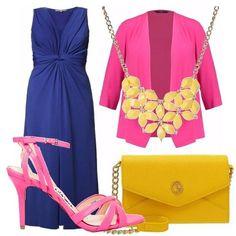Colori forti e predominanti per questo outfit composto dal giallo, fucsia e blu. Outfit decisamente elegante ma casual al tempo stesso! Per bellissime serate estive!