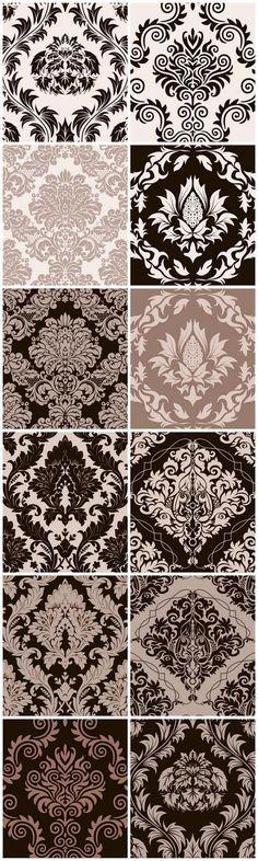 Damask Curtains, Damask Decor, Fabric Decor, Curtain Patterns, Textile Patterns, Damask Patterns, Patterns Background, Damask Party, Stencil Art
