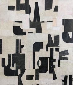 Cecil Touchon - Fusion Series #2059 - collage on paper - 2005 - black and white, typography, abstract