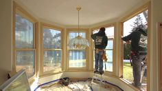 Large Double Hung Wood Windows with Invisible Screens - Installation - Timelapse from Renewal by Andersen.