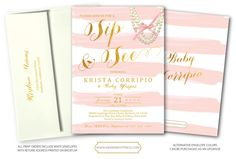 Sip And See Invitations, Pink Invitations, Pink And Gold, Blush Pink, Event Branding, Pink Stripes, White Envelopes, All Print, Baby Shower
